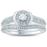 1/3 Carat TW Diamond Halo Bridal Set in 10k White Gold