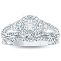 3/4 Carat TW Diamond Halo Bridal Set in 10k White Gold