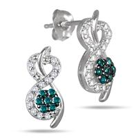 3/8 Carat Blue and White Diamond Earrings in 10K White Gold