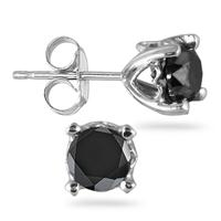 1 Carat TW Black Diamond Stud Heart Earrings in 14k White Gold