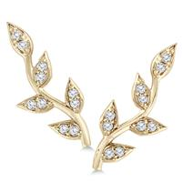 1/5 Carat TW Diamond Vine and Leaf Earrings in 14K Yellow Gold