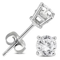 1/2 Carat TW AGS Certified Round Diamond Solitaire Stud Earrings in 14K White Gold