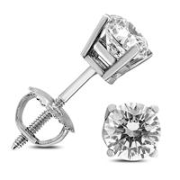 1 1/4 Carat TW AGS Certified Round Diamond Solitaire Stud Earrings in 14K White Gold