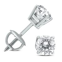 1 Carat TW IGI Certified Round Diamond Solitaire Stud Earrings in 14K White Gold