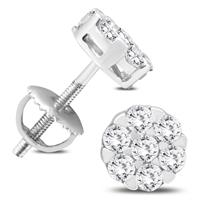 3/4 Carat TW Round Diamond Cluster Earrings in 10K White Gold