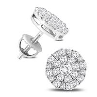 1 Carat TW Round Diamond Cluster Earrings in 10K White Gold