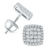 1/2 Carat TW Diamond Cluster Earrings in 10K White Gold