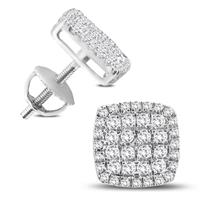 3/4 Carat TW Diamond Cluster Earrings in 10K White Gold