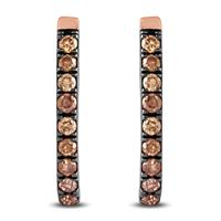 1/5 Carat TW Brown Diamond Hoop Earrings in 10K Rose Gold