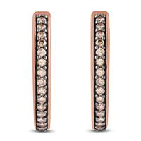 1/4 Carat TW Diamond Hoop Earrings in 10K Rose Gold
