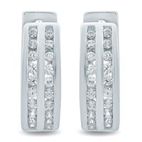 1/4 Carat TW Diamond Double Row Hoop Earrings in 10K White Gold