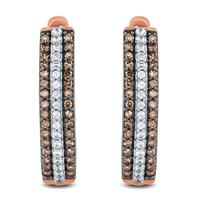 1/3 Carat TW Brown and White Diamond Hoop Earrings in 10K Rose Gold