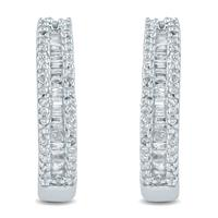 3/8 Carat TW  Baguette and Round Diamond Hoop Earrings in 10K White Gold