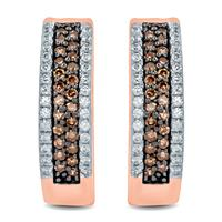 1/2 Carat TW Brown and White Diamond Hoop Earrings in 10K Rose Gold