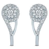 1/2 Carat TW Diamond Cluster J-Hoop Earrings in 10K White  Gold