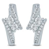 1/2 Carat TW Diamond Two Stone Earrings in 10K White Gold