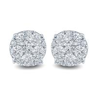 1 Carat TW Diamond Cluster Earrings in 10K White  Gold