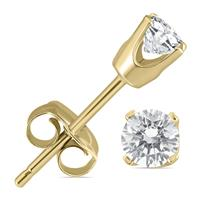 1/4 Carat TW AGS Certified Round Diamond Solitaire Stud Earrings in 14K Yellow Gold  (K-L Color, I2-I3 Clarity)