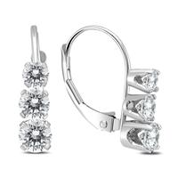 1 Carat TW Three Stone Drop Earrings in 14K White Gold