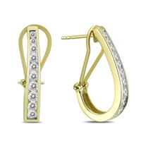 1 Carat TW Channel-Set Diamond Omega Back Hoop Earrings in 14K Yellow Gold (H-I Color, SI1-SI2 Clarity)