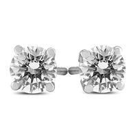 1 Carat TW AGS Certified Round Diamond Solitaire Stud Earrings in 14K White Gold (I-J Color, SI1-SI2 Clarity)