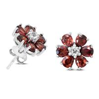 Garnet and White Topaz Flower Earrings in .925 Sterling Silver