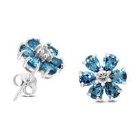 London Blue and White Topaz Flower Earrings in .925 Sterling Silver
