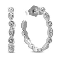 Art Deco Diamond Hoop Earrings in .925 Sterling Silver