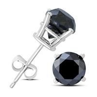 2 Carat TW Round Black Diamond Solitaire Stud Earrings in 10K White Gold
