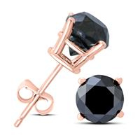 2 Carat TW Round Black Diamond Solitaire Stud Earrings in 10K Rose Gold