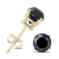 1 1/2 Carat TW Round Black Diamond Solitaire Stud Earrings in 10K Yellow Gold