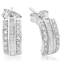 1/2 Carat TW Baguette and Round Diamond Hoop Earrings In Sterling Silver