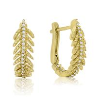 1/4 Carat TW Diamond Feather Earrings In Gold Overlay With Latch backs