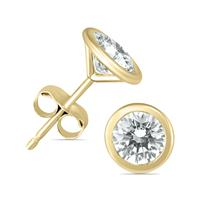 1/2 Carat TW Bezel Diamond Solitaire Earrings in 14K Yellow Gold