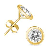 1 1/2 Carat TW AGS Certified Bezel Diamond Solitaire Stud Earrings in 14K Yellow Gold