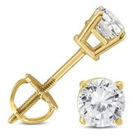 1/2 Carat TW AGS Certified Round Diamond Solitaire Stud Earrings in 14K Yellow Gold with Screw Backs