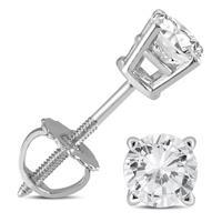 1/2 Carat TW AGS Certified Round Diamond Solitaire Stud Earrings in 14K White Gold with Screw Backs