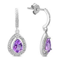 Amethyst and Diamond Dangle Drop Earrings in .925 Sterling Silver