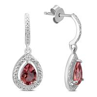 Garnet and Diamond Dangle Drop Earrings in .925 Sterling Silver