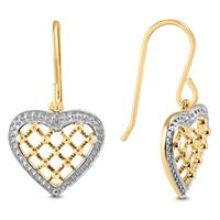 Deals on Diamond Accented Heart Shaped Earrings in Gold Plated .925