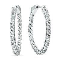 2 Carat TW Oval Diamond Hoop Earrings with Push Button Locks in 14K White Gold