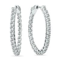 3 Carat TW Oval Diamond Hoop Earrings with Push Button Locks in 14K White Gold