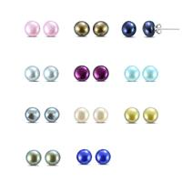 Multi Colored Freshwater Cultured Pearl Stud Earrings in .925 Sterling Silver - 11 Piece Box Set
