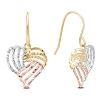 10K Tri Color Gold Heart Drop Earring With Fish Hook