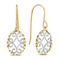 Oval Dangle Drop Earrings in 10K Yellow Gold with White Rhodium Plating