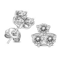 AGS Certified 1 Carat TW Three Stone Diamond Earrings in 14K White Gold