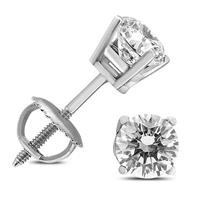 1/2 Carat TW (J-K,VS1-VS2) AGS Certified Round Diamond Solitaire Stud Earrings in 14K White Gold