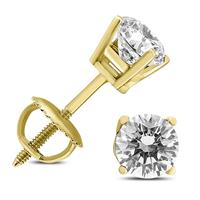 1/2 Carat TW (J-K,VS1-VS2) AGS Certified Round Diamond Solitaire Stud Earrings in 14K Yellow Gold
