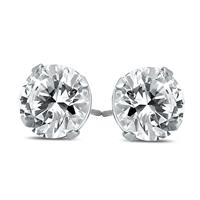 AGS Certified 1/2 Carat TW (SI1-SI2 Clarity, J-K Color) Round Diamond Solitaire Stud Earrings in 14K White Gold