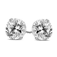 AGS Certified (J-K Color, SI1-SI2 Clarity) 1/2 Carat TW Round Diamond Solitaire Stud Earrings In 14k White Gold